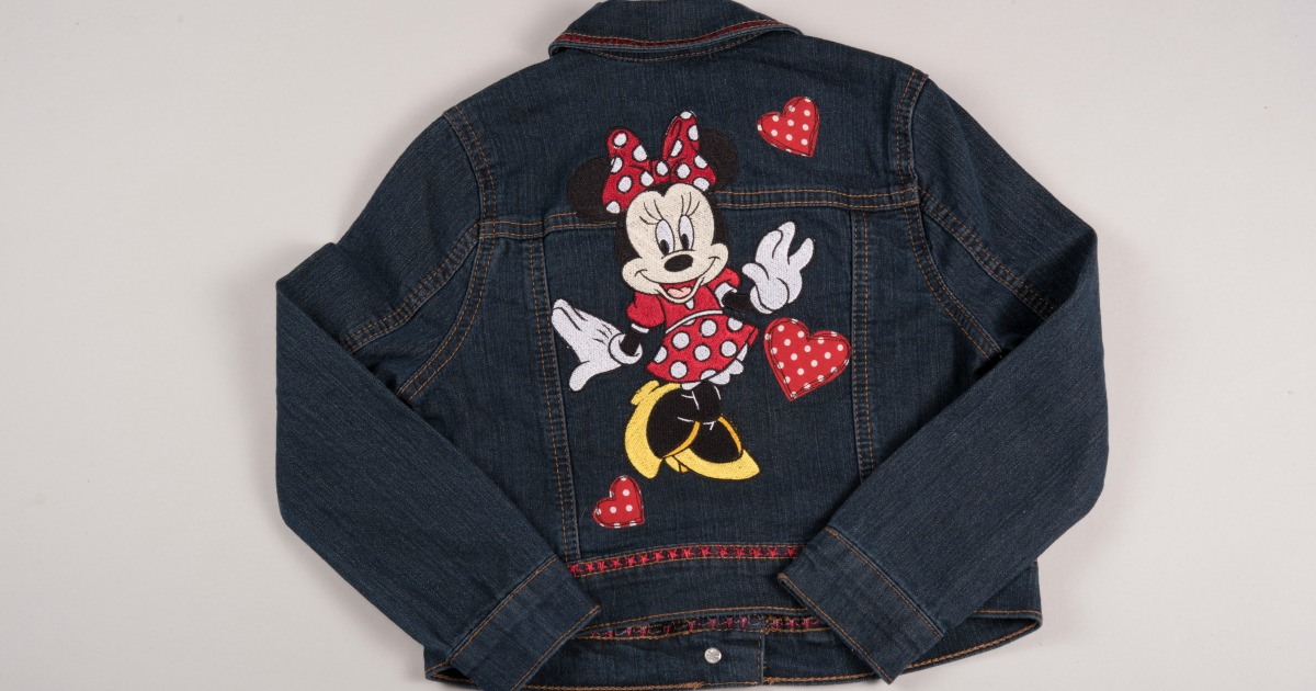 sewing embroidery Minnie Mouse jean jacket